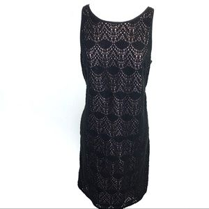 Loft black crocheted shift dress - 12